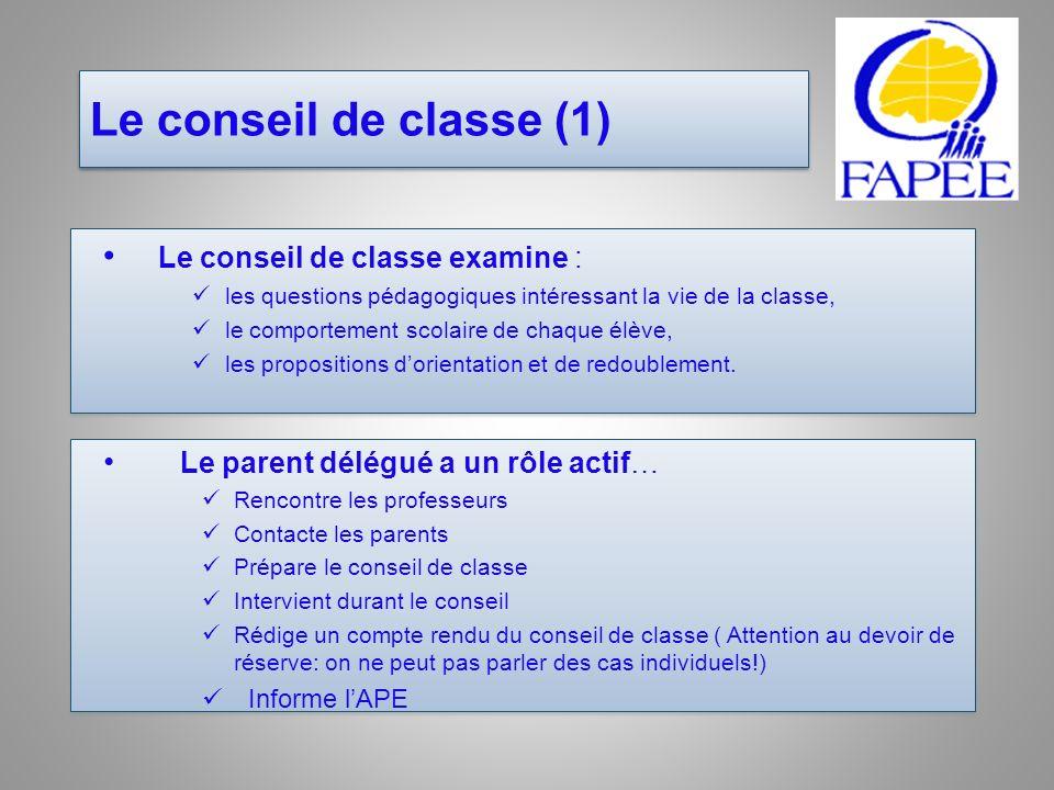 Le conseil de classe (1) Le conseil de classe examine :