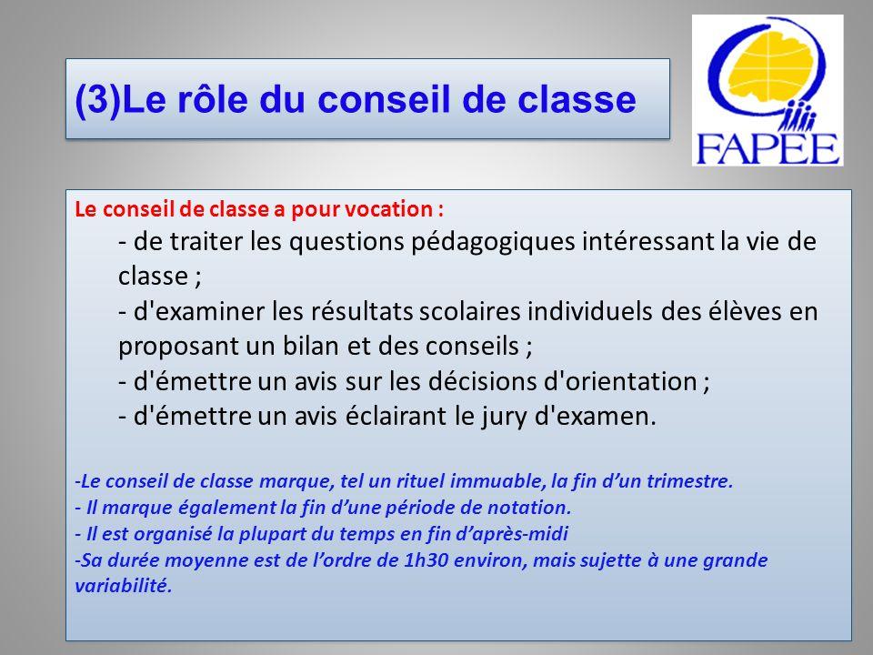 (3)Le rôle du conseil de classe