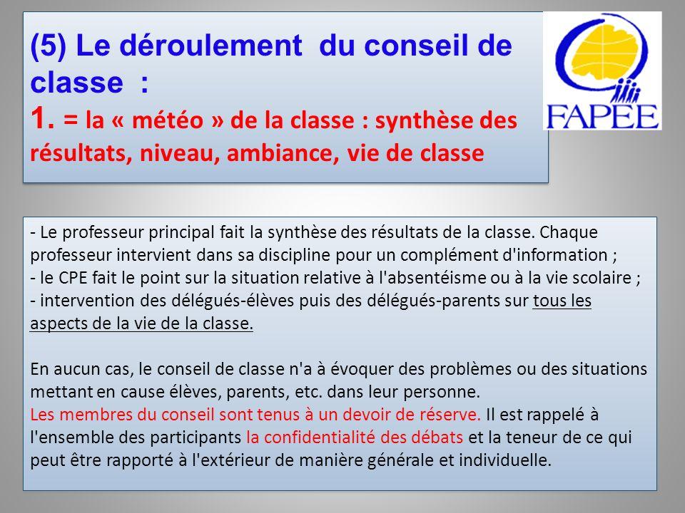 (5) Le déroulement du conseil de classe : 1