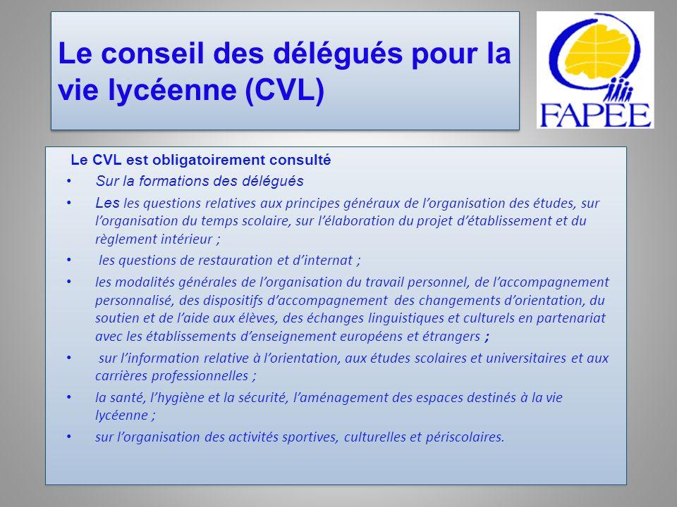 Le conseil des délégués pour la vie lycéenne (CVL)