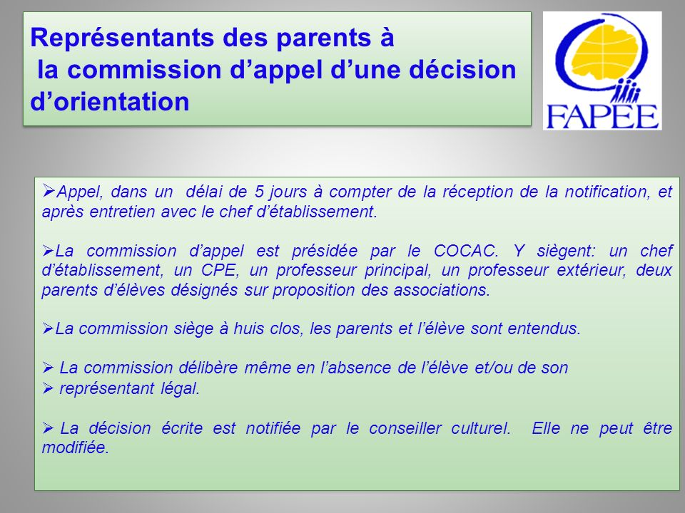 Représentants des parents à la commission d'appel d'une décision d'orientation