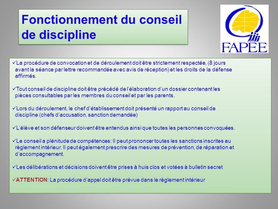 Fonctionnement du conseil de discipline