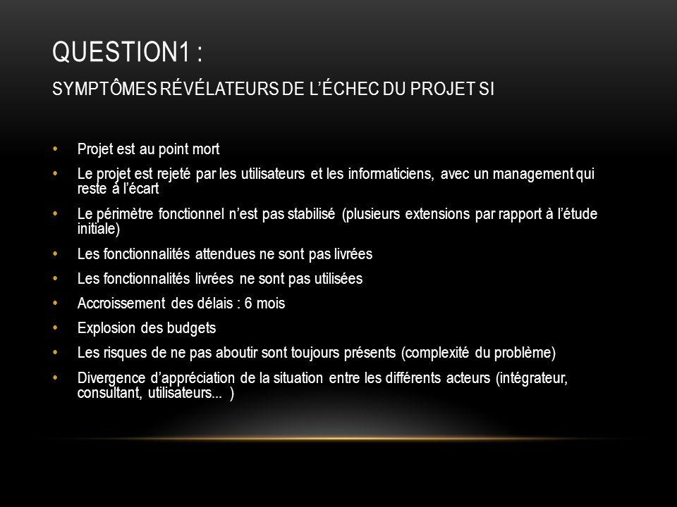 QUESTION1 : SYMPTÔMES RÉVÉLATEURS DE L'ÉCHEC DU PROJET SI