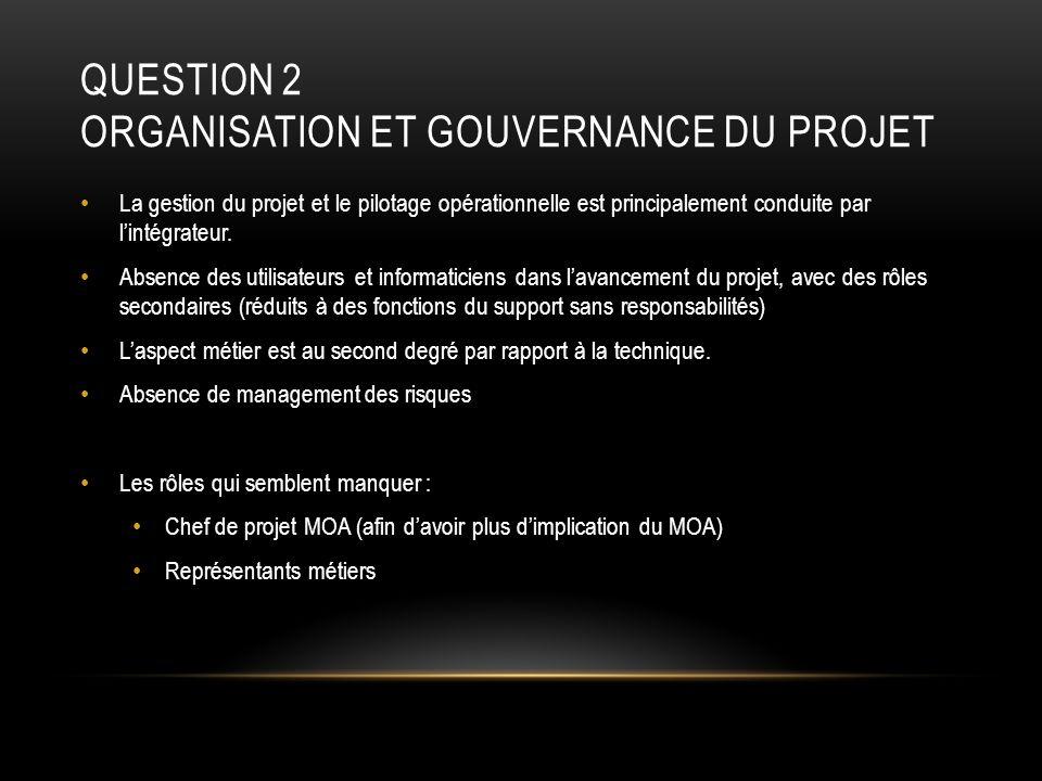 Question 2 Organisation et gouvernance du projet