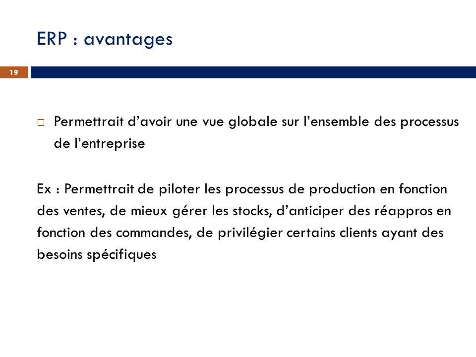 ERP : avantages Permettrait d'avoir une vue globale sur l'ensemble des processus de l'entreprise.