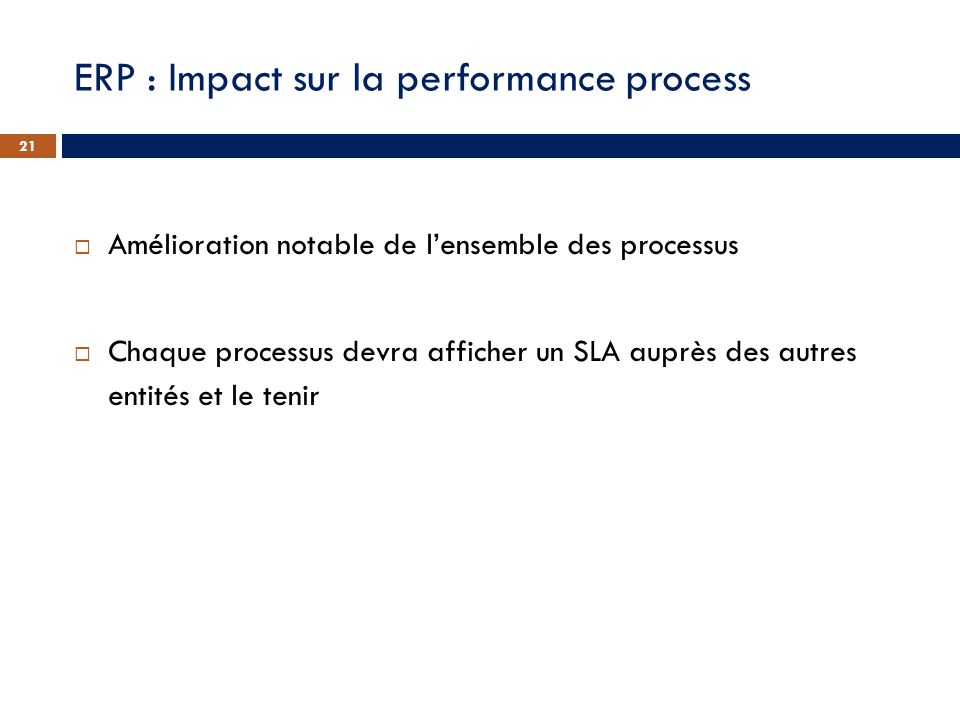ERP : Impact sur la performance process