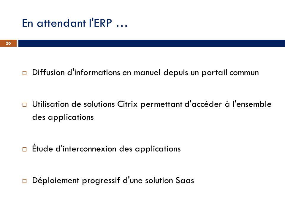 En attendant l ERP … Diffusion d informations en manuel depuis un portail commun.