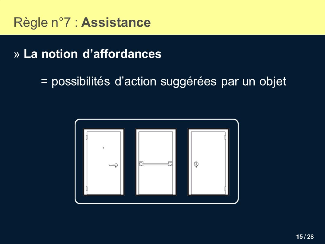 Règle n°7 : Assistance » La notion d'affordances