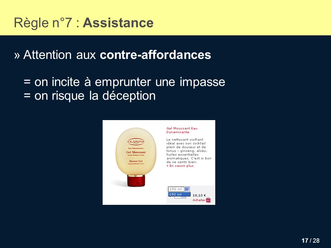 Règle n°7 : Assistance » Attention aux contre-affordances