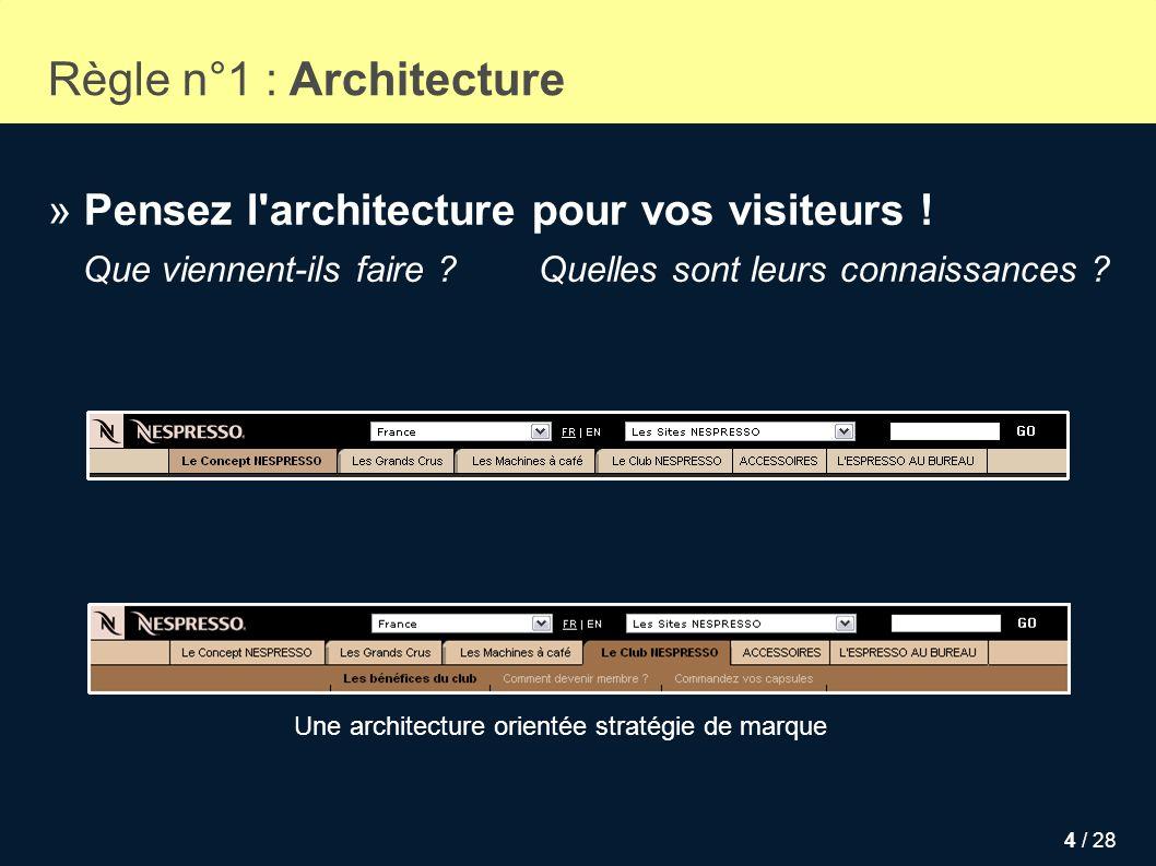 Règle n°1 : Architecture