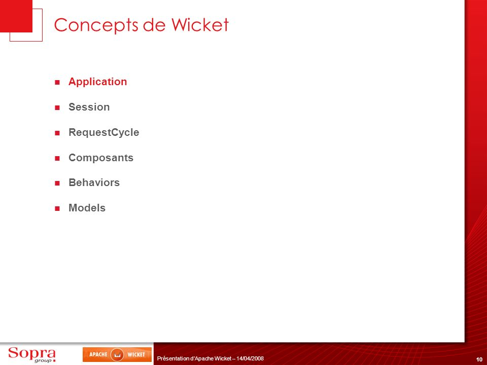 Concepts de Wicket Application Session RequestCycle Composants