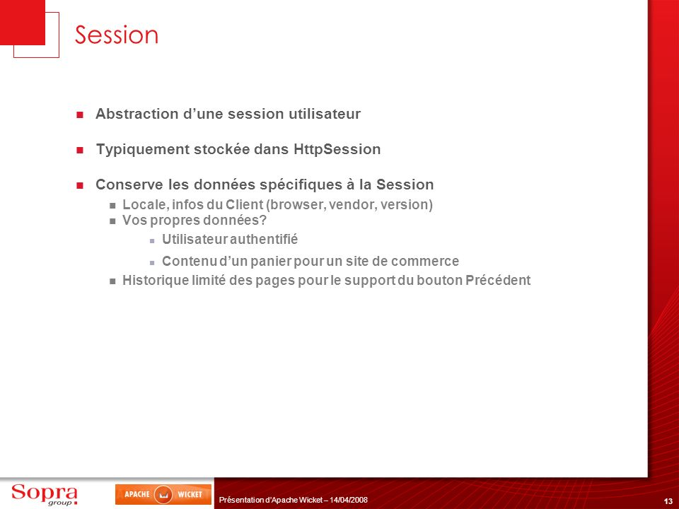 Session Abstraction d'une session utilisateur