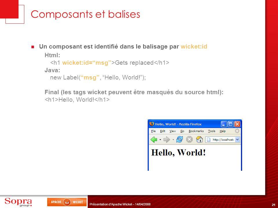 Composants et balises Un composant est identifié dans le balisage par wicket:id. Html: <h1 wicket:id= msg >Gets replaced</h1>