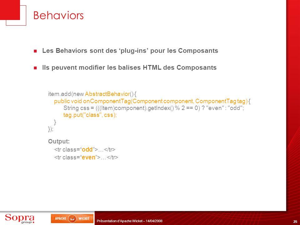 Behaviors Les Behaviors sont des 'plug-ins' pour les Composants