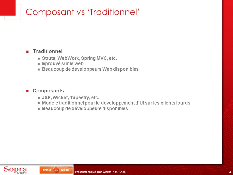 Composant vs 'Traditionnel'