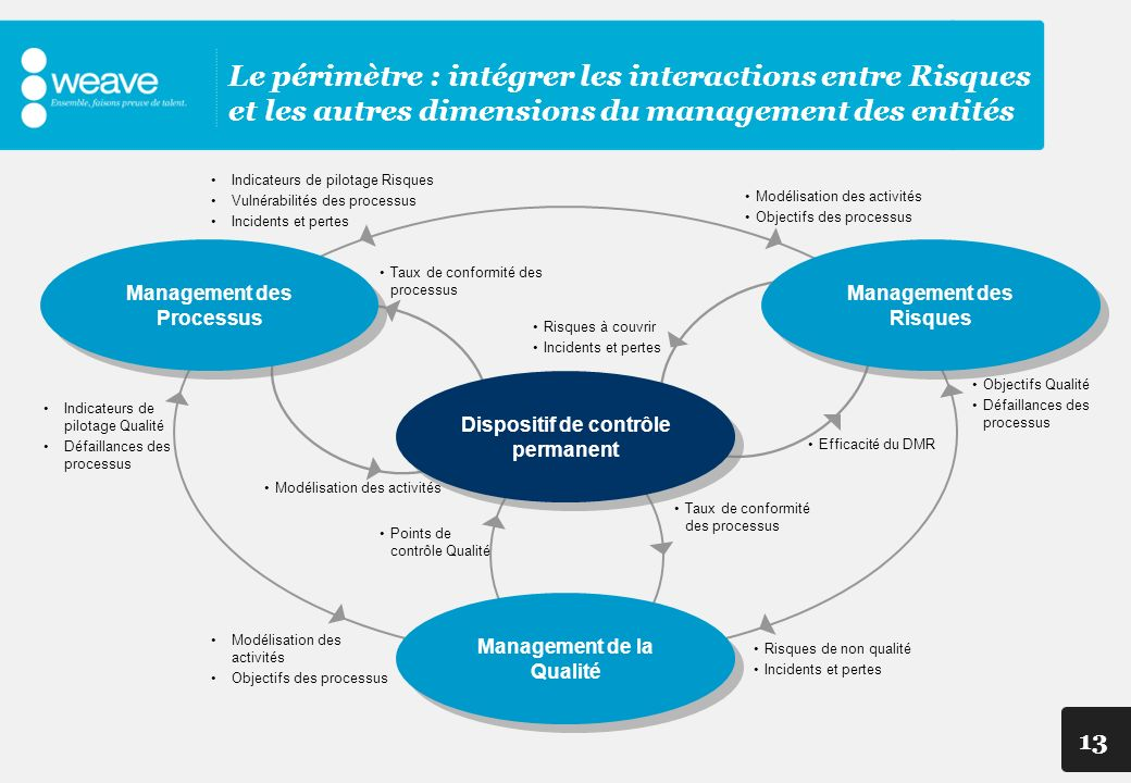 Le périmètre : intégrer les interactions entre Risques et les autres dimensions du management des entités