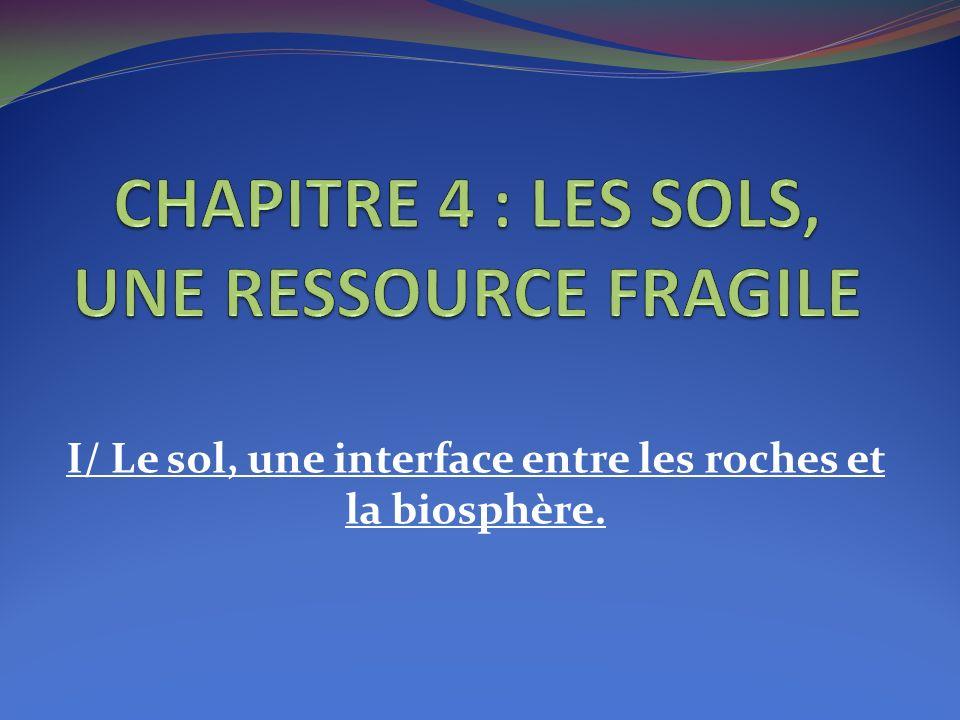 CHAPITRE 4 : LES SOLS, UNE RESSOURCE FRAGILE