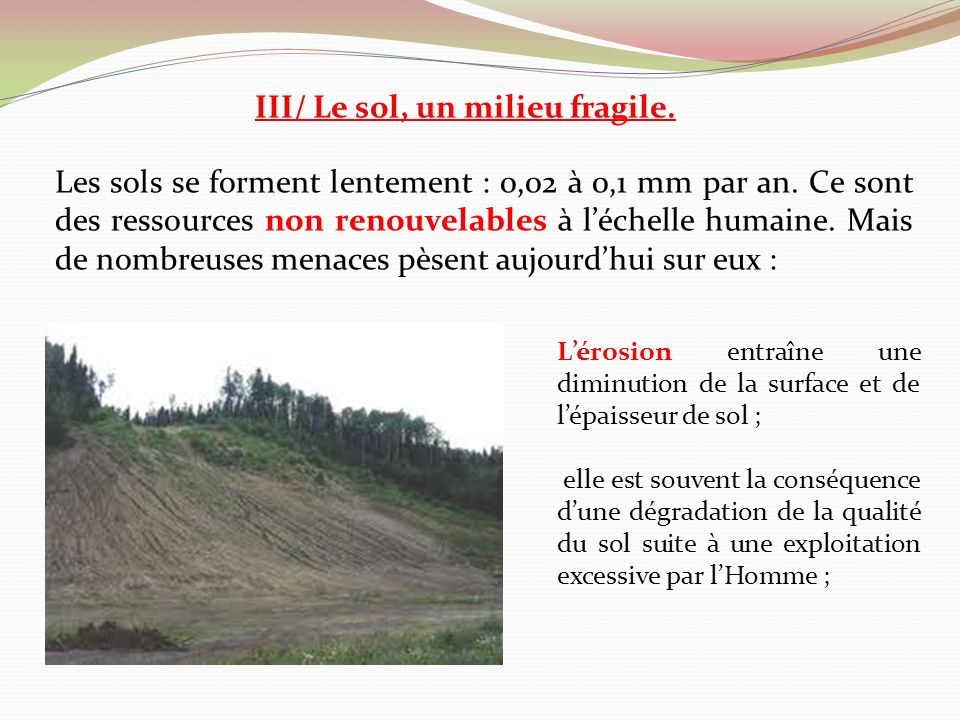 III/ Le sol, un milieu fragile.