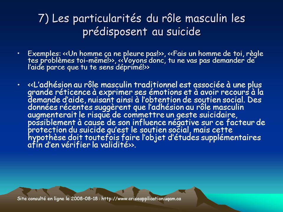 7) Les particularités du rôle masculin les prédisposent au suicide