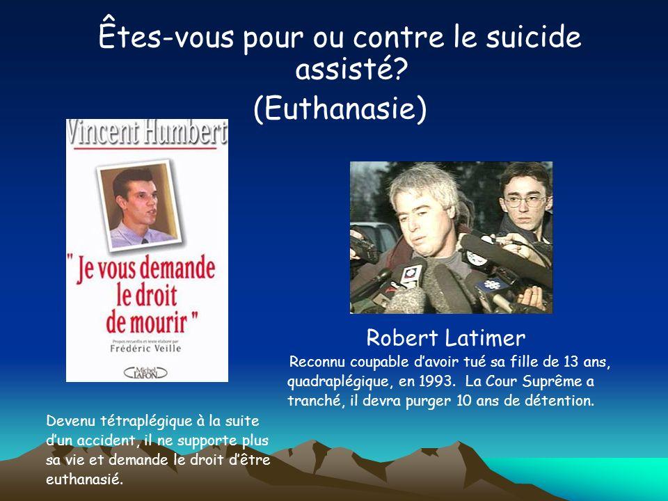 Êtes-vous pour ou contre le suicide assisté (Euthanasie)