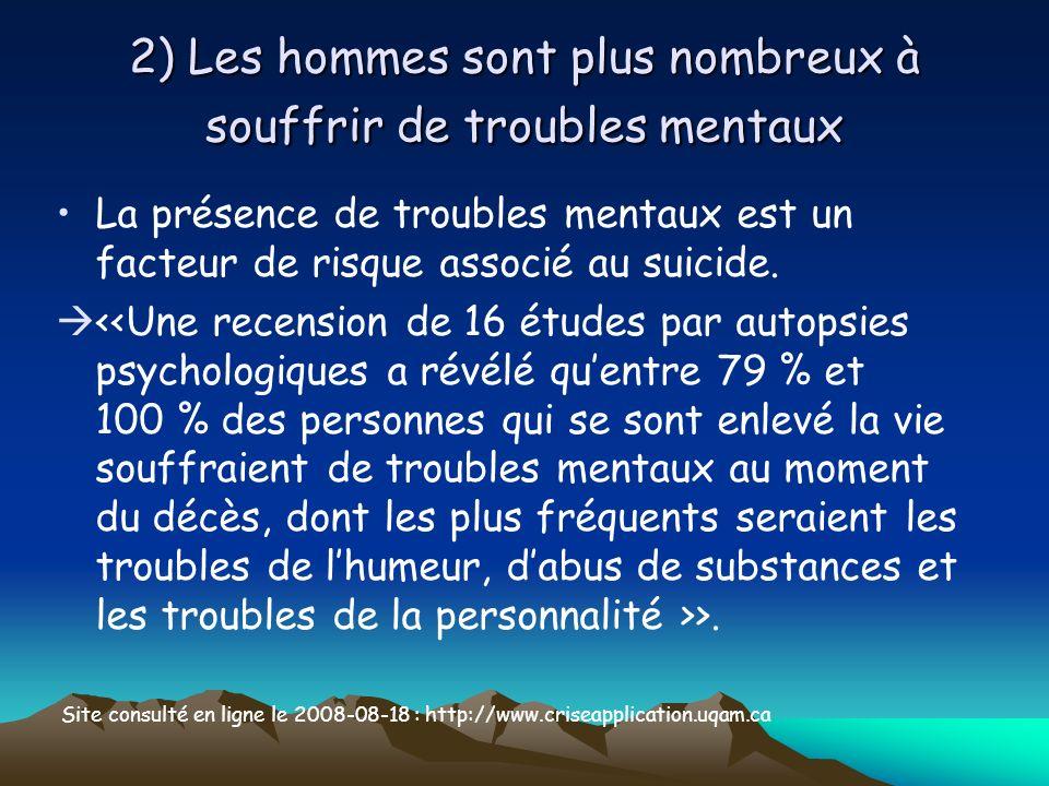 2) Les hommes sont plus nombreux à souffrir de troubles mentaux