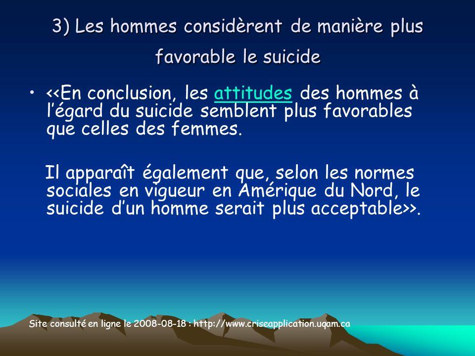 3) Les hommes considèrent de manière plus favorable le suicide