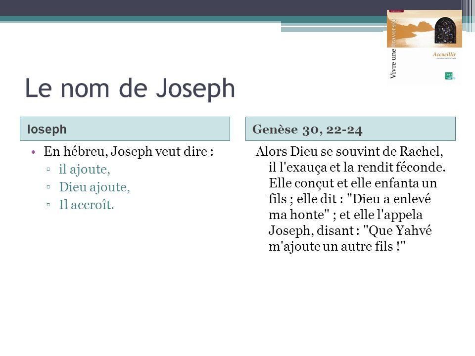 Le nom de Joseph En hébreu, Joseph veut dire : il ajoute, Dieu ajoute,