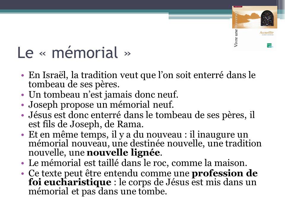 Le « mémorial » En Israël, la tradition veut que l'on soit enterré dans le tombeau de ses pères. Un tombeau n'est jamais donc neuf.