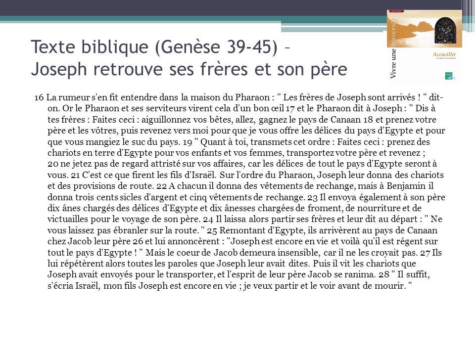 Texte biblique (Genèse 39-45) – Joseph retrouve ses frères et son père