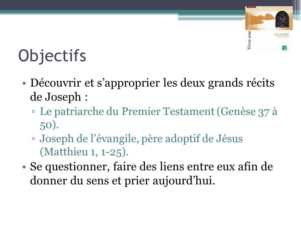 Objectifs Découvrir et s'approprier les deux grands récits de Joseph :