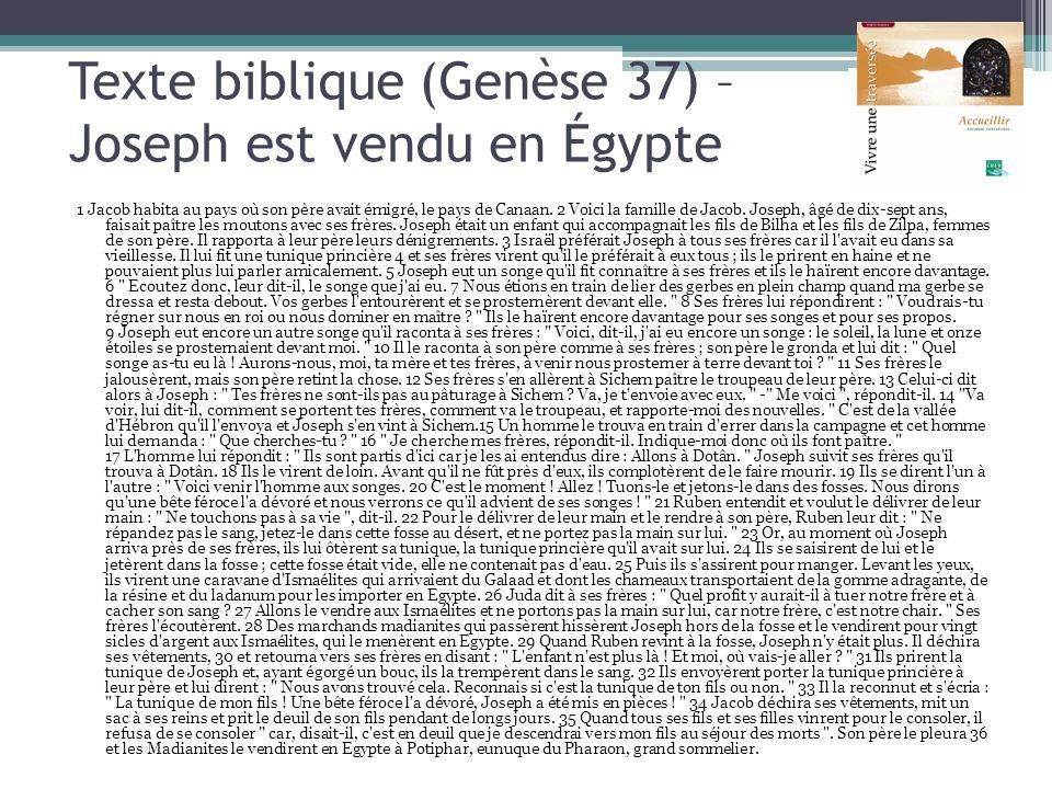 Texte biblique (Genèse 37) – Joseph est vendu en Égypte