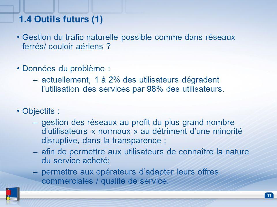 1.4 Outils futurs (1) Gestion du trafic naturelle possible comme dans réseaux ferrés/ couloir aériens