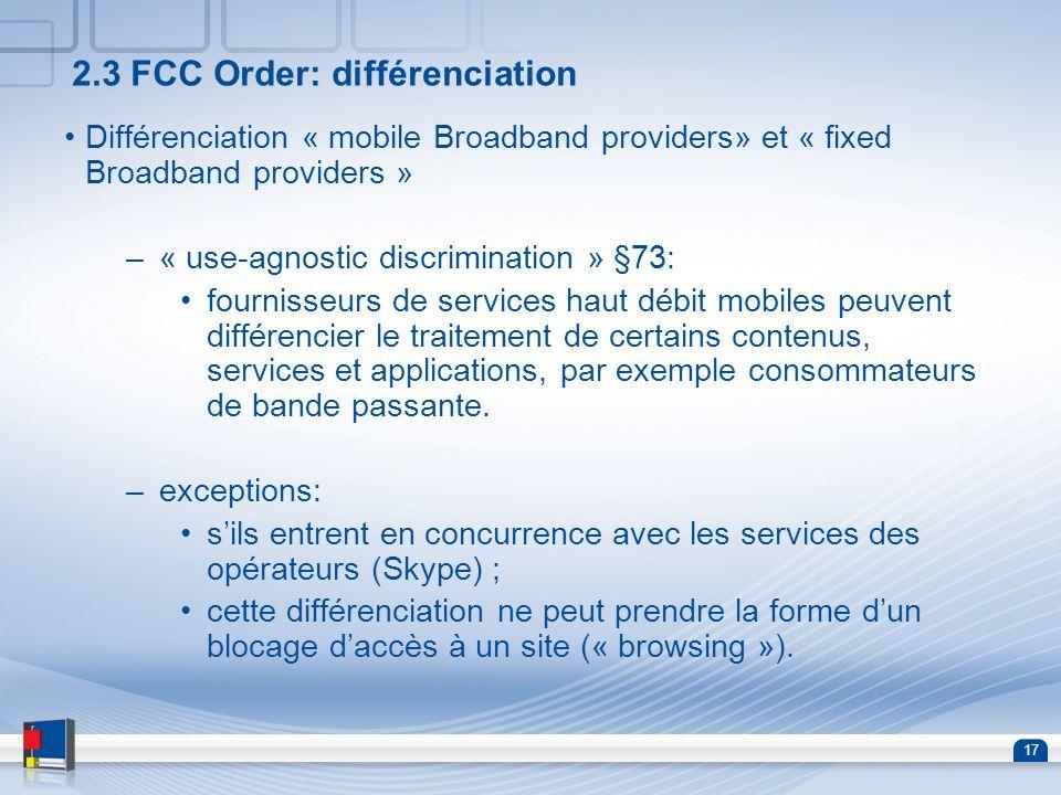 2.3 FCC Order: différenciation