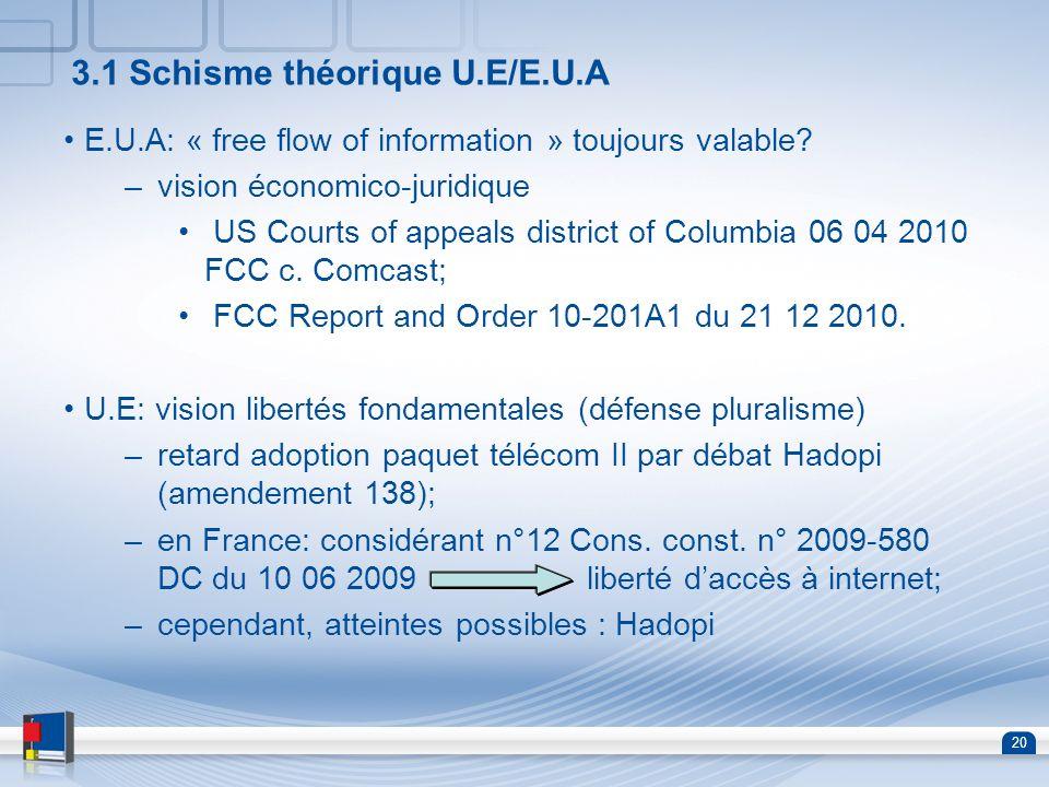 3.1 Schisme théorique U.E/E.U.A