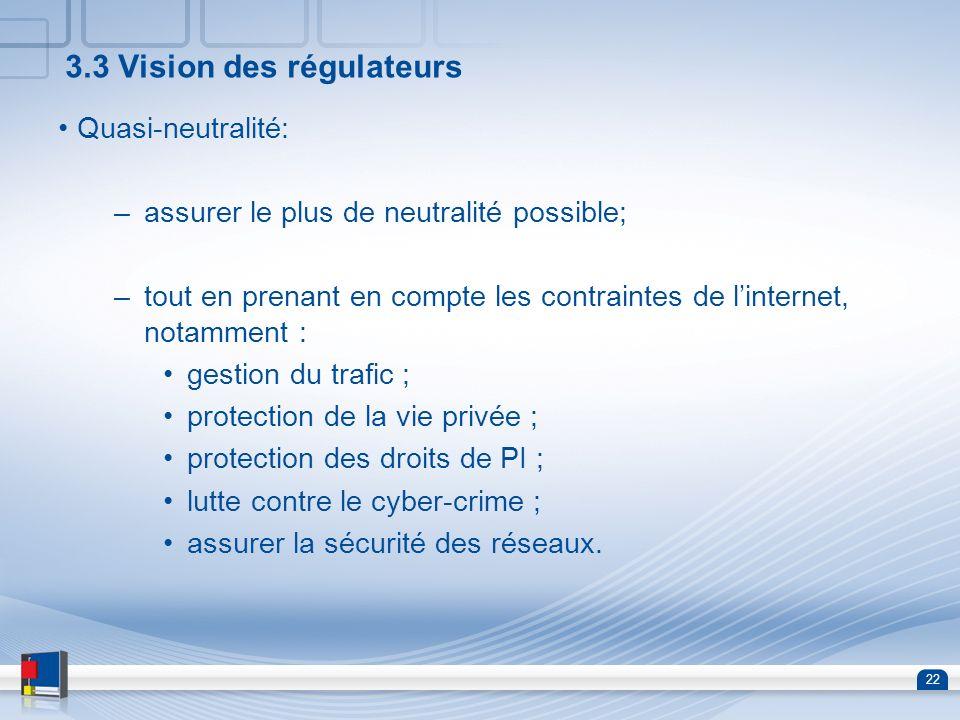 3.3 Vision des régulateurs
