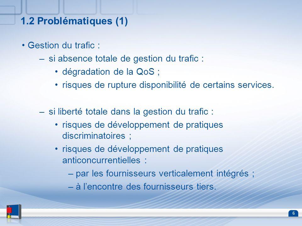 1.2 Problématiques (1) Gestion du trafic :