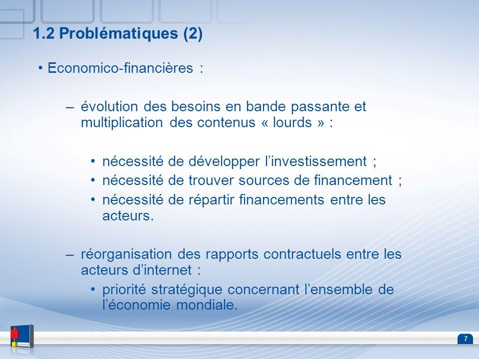 1.2 Problématiques (2) Economico-financières :