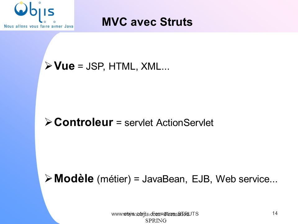 Controleur = servlet ActionServlet