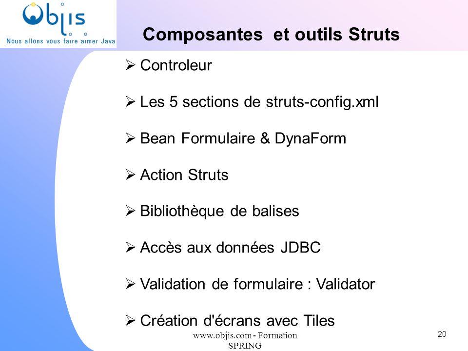 Composantes et outils Struts