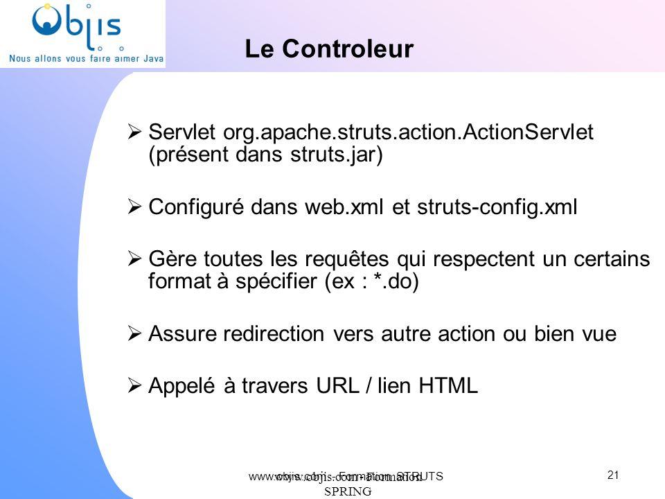 Le Controleur Servlet org.apache.struts.action.ActionServlet (présent dans struts.jar) Configuré dans web.xml et struts-config.xml.