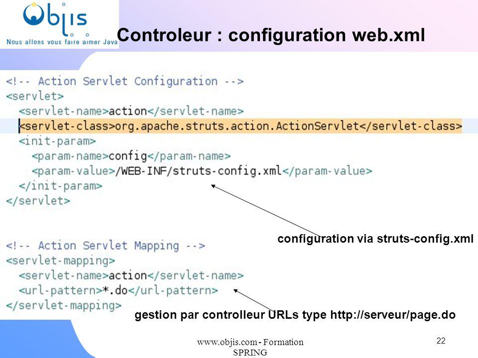 Controleur : configuration web.xml configuration via struts-config.xml