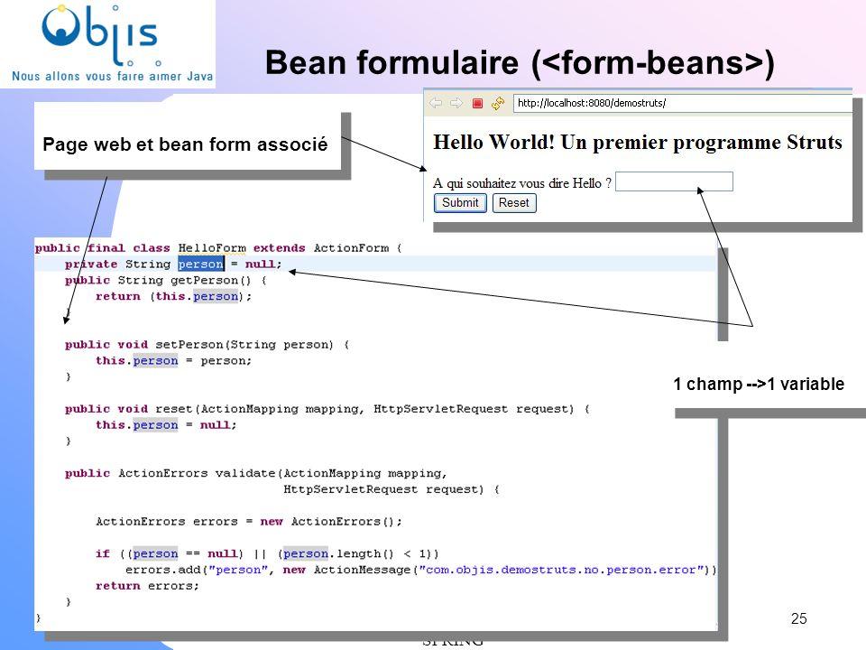 Bean formulaire (<form-beans>)