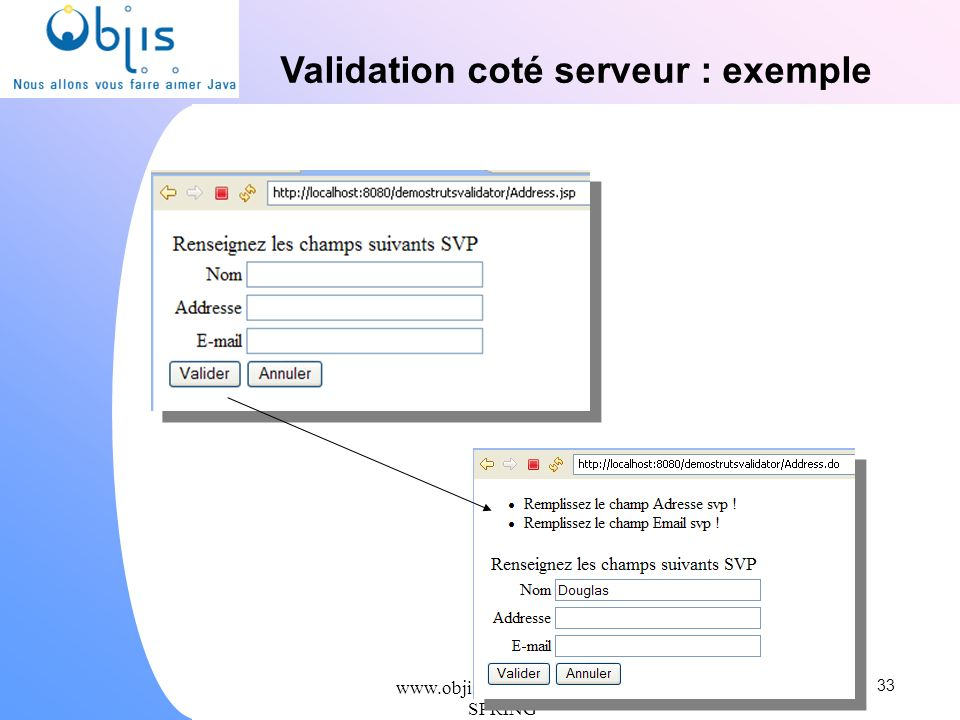 Validation coté serveur : exemple