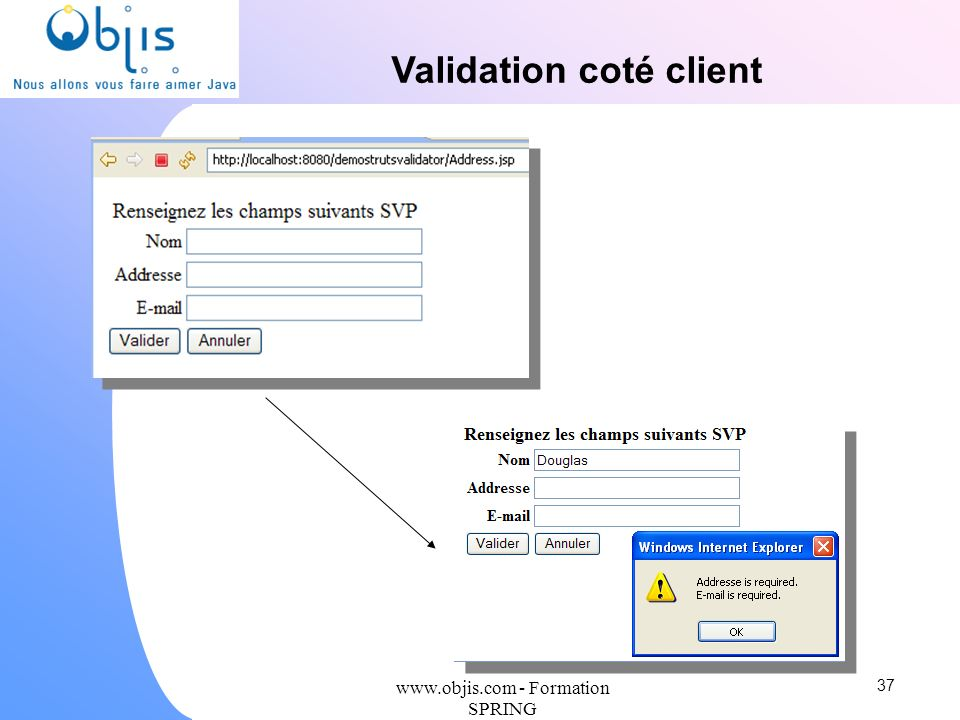 Validation coté client