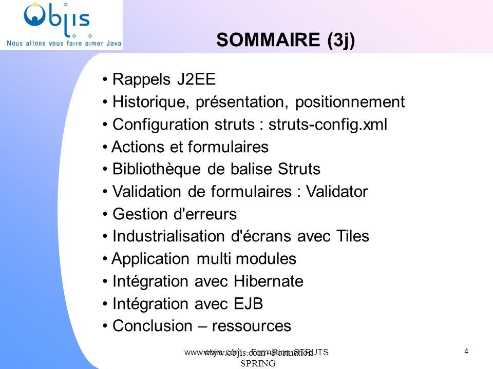SOMMAIRE (3j) Rappels J2EE Historique, présentation, positionnement