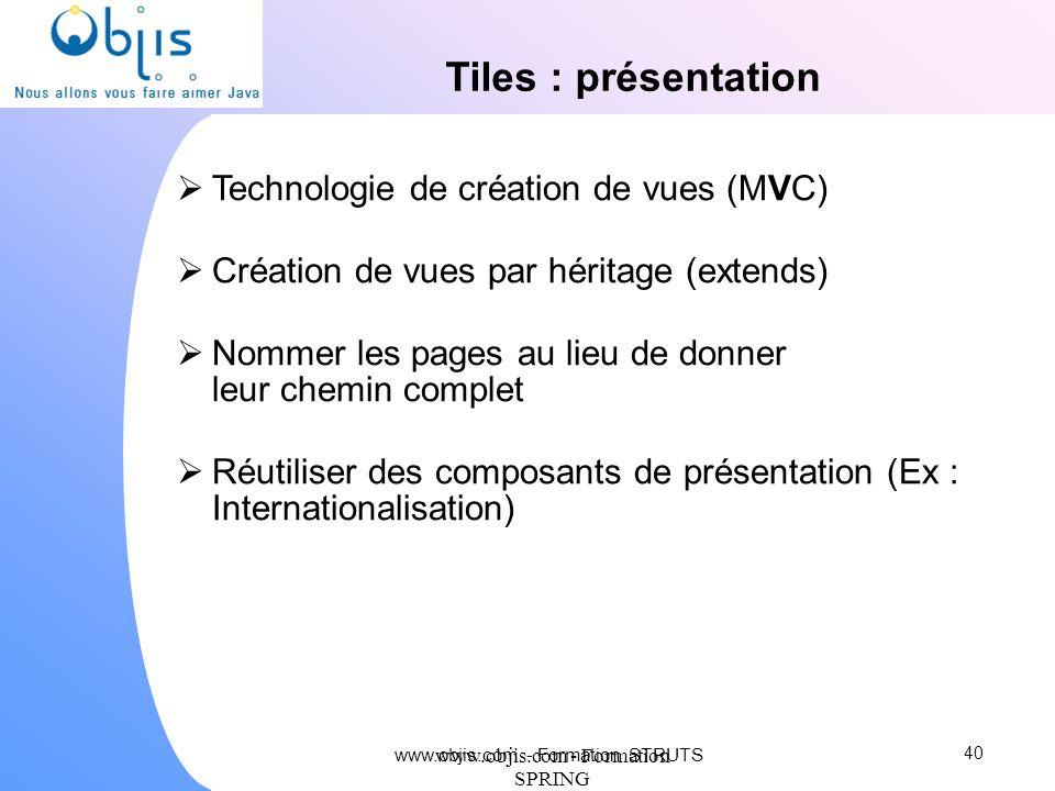 Tiles : présentation Technologie de création de vues (MVC)