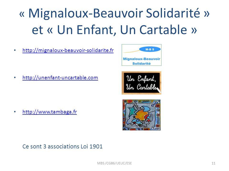 « Mignaloux-Beauvoir Solidarité » et « Un Enfant, Un Cartable »