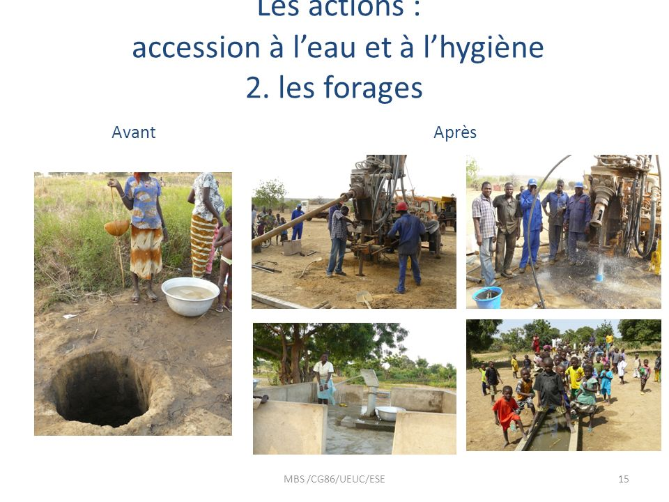 Les actions : accession à l'eau et à l'hygiène 2. les forages