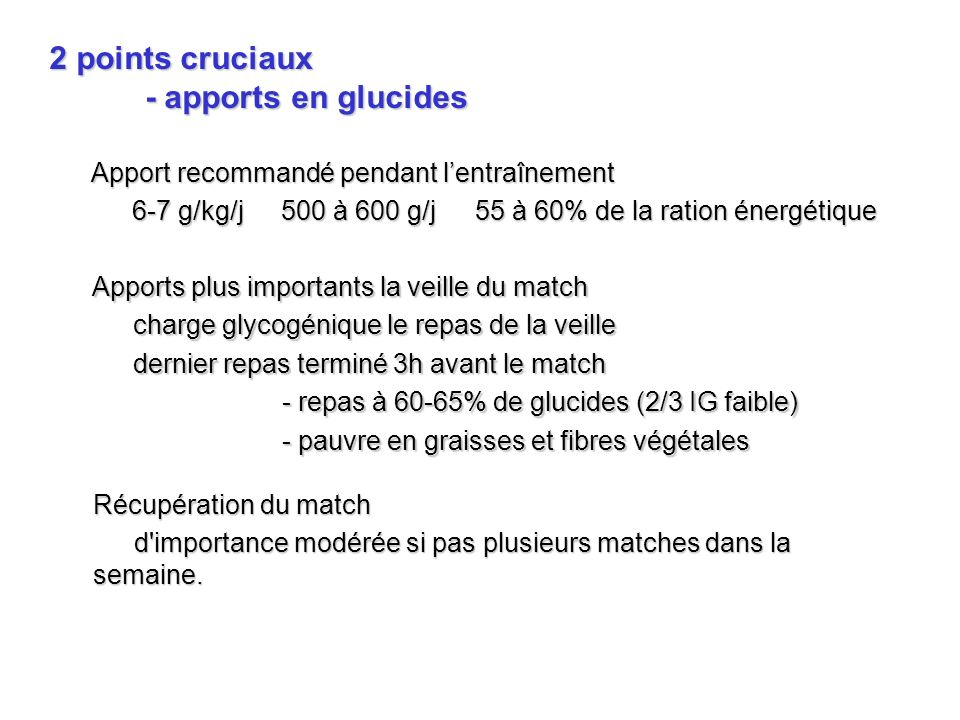 2 points cruciaux - apports en glucides
