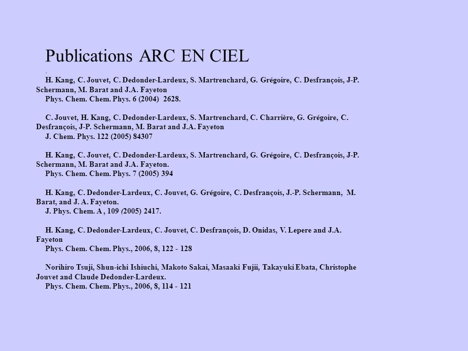 Publications ARC EN CIEL
